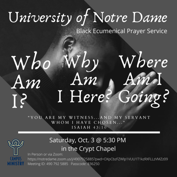 Black Ecumenical Prayer Service Poster for October 3rd 2020
