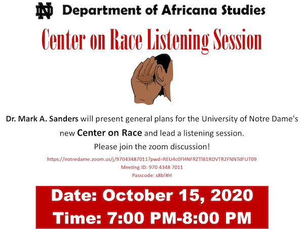 Center On Race Listening Session Poster